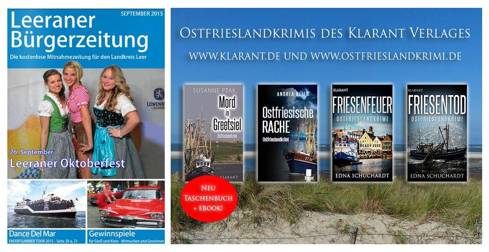 Werbung für Ostfrieslandkrimis in der September-Ausgabe der Leeraner Bürgerzeitung