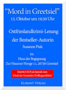 Flyer Ostfrieslandkrimi Lesung Greetsiel Susanne Ptak