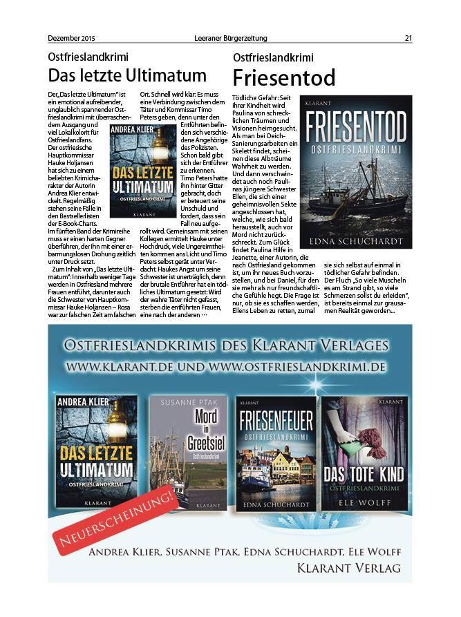 """Artikel über die Ostfrieslandkrimis """"Das letzte Ultimatum"""" und """"Friesentod"""" in der Leeraner Bürgerzeitung"""