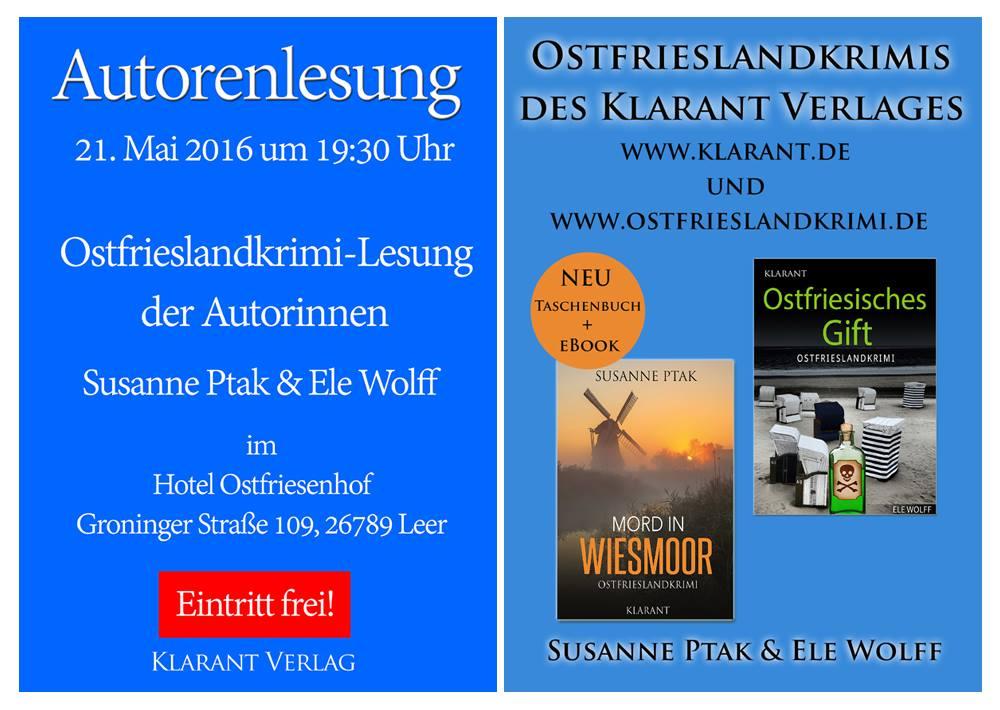 Banner zur Ostfriesenkrimi-Lesung von Susanne Ptak und Ele Wolff im Mai 2016 in Leer
