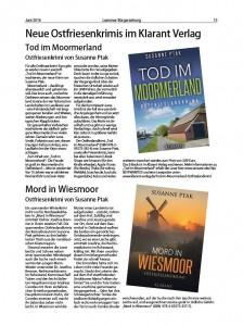 """Artikel über die Ostfriesenkrimis """"Tod im Moormerland"""" und """"Mord in Wiesmoor"""" von Susanne Ptak"""