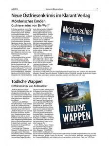 Ostfriesenkrimis von Ele Wolff und Andrea Klier in der Leeraner BZ