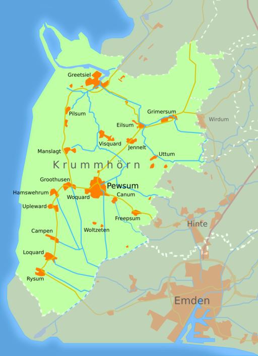 Karte Krummhörn in Ostfriesland