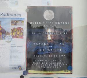 Aushang Ostfrieslandkrimi Lesung Greetsiel