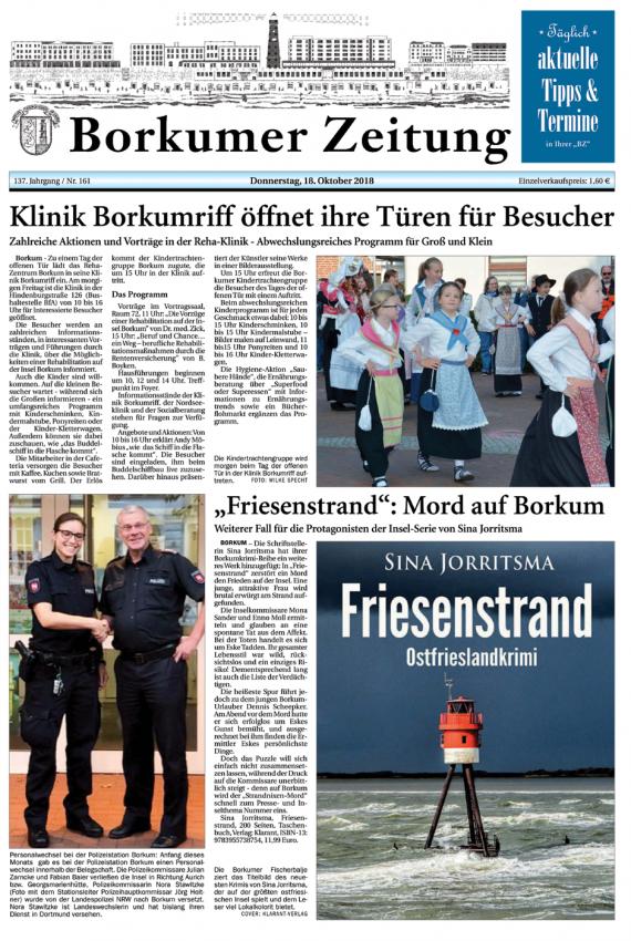 Borkumer Zeitung, ostfrieslandkrimi Friesenstrand