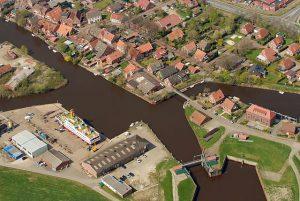 Oldersum Hafen Häuser von oben